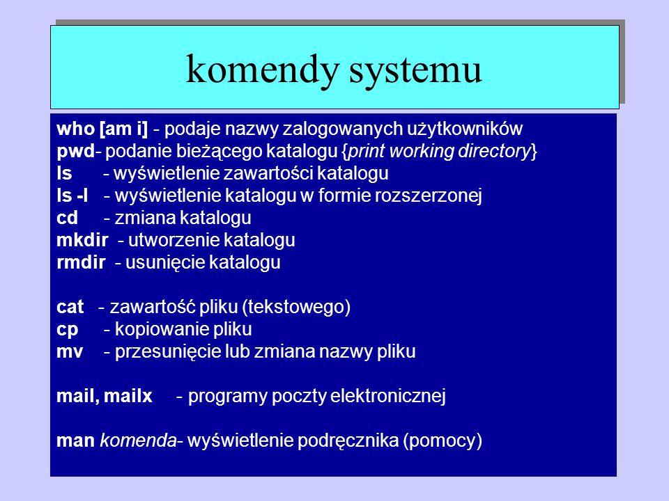 komendy systemu who [am i] - podaje nazwy zalogowanych użytkowników